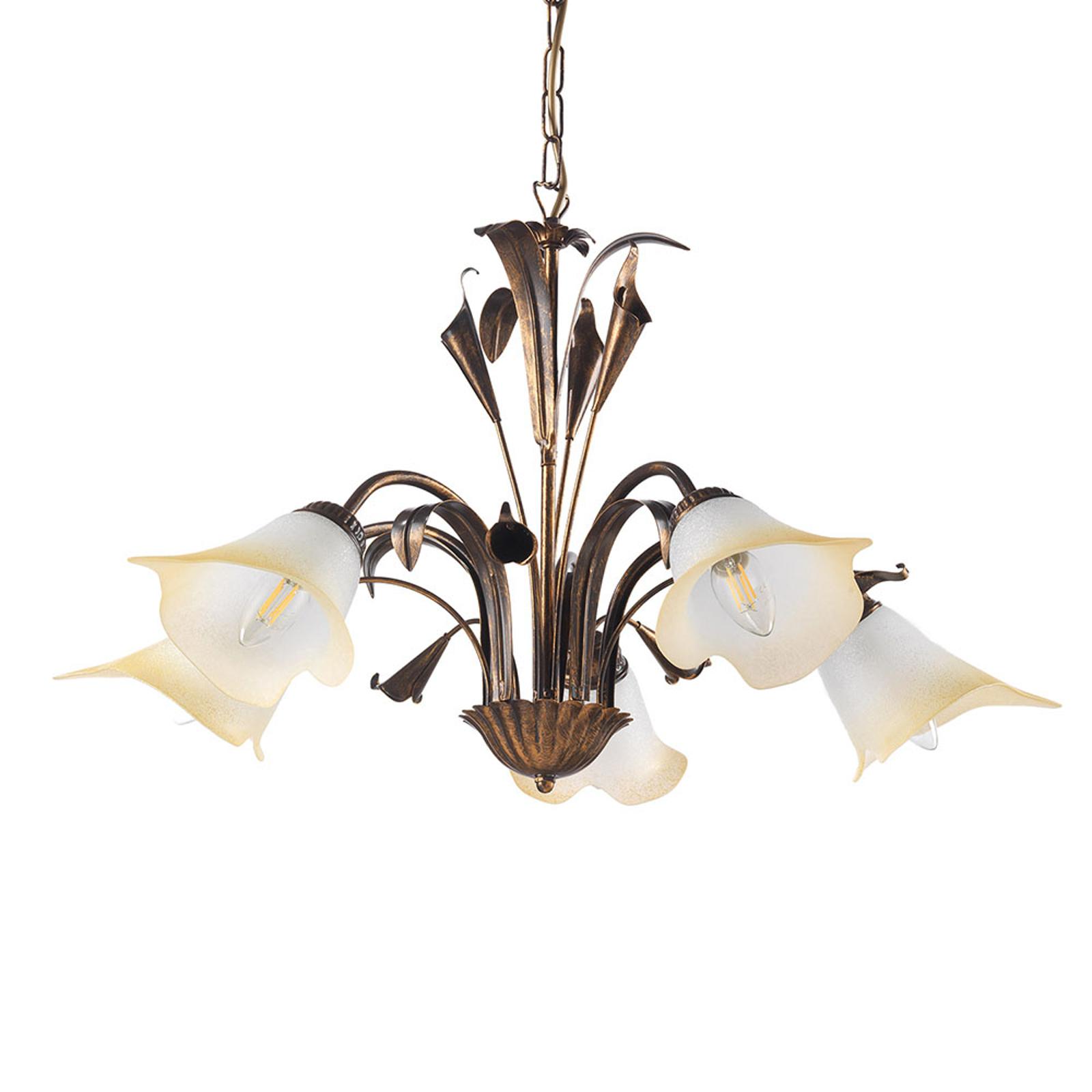 Lucrezia hængelampe, 5 lyskilder, bronze