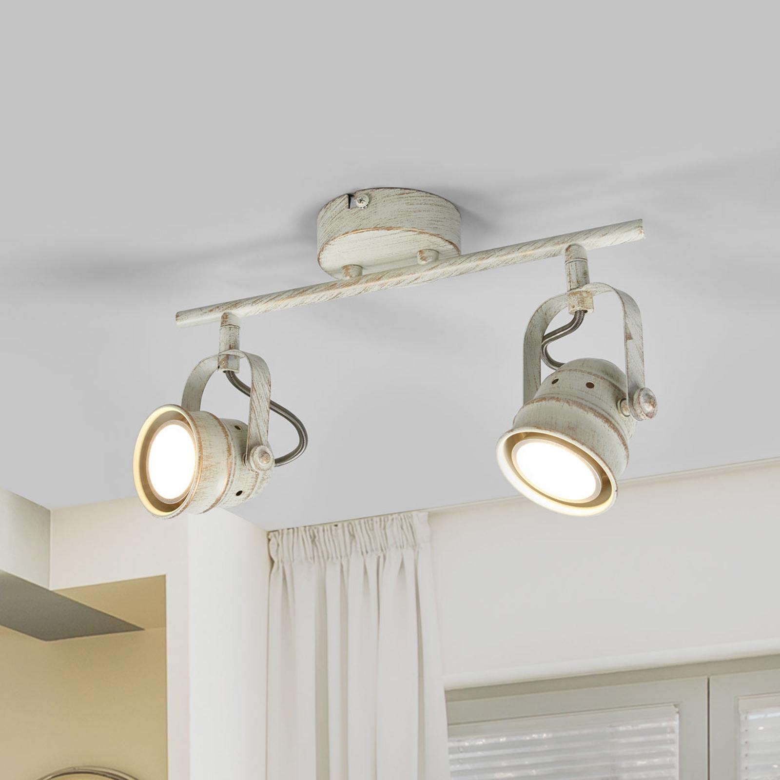 Plafonnier LED Leonor à deux lampes, blanc