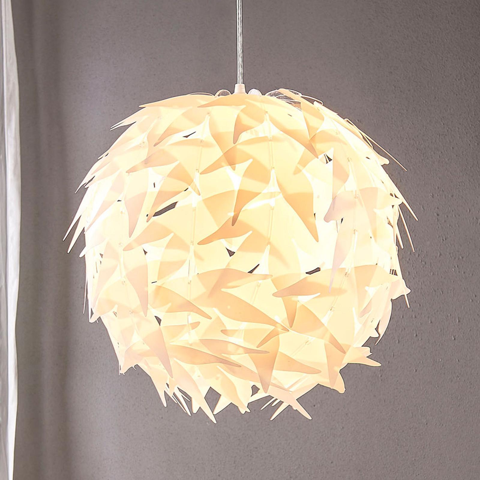 Lámpara colgante Corin de forma esférica, blanco