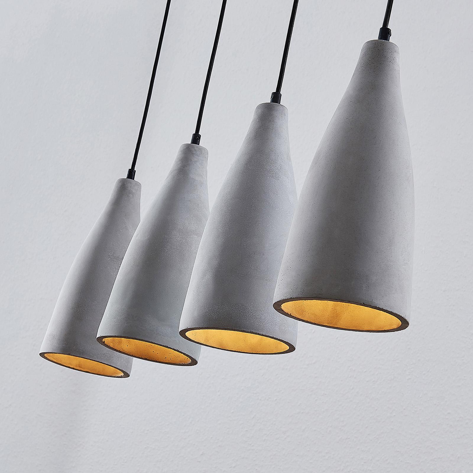 Lindby Sanne beton-hanglamp, 4-lamps