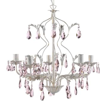 Kroonluchter Kate, 5-lamps wit, rosé kristallen