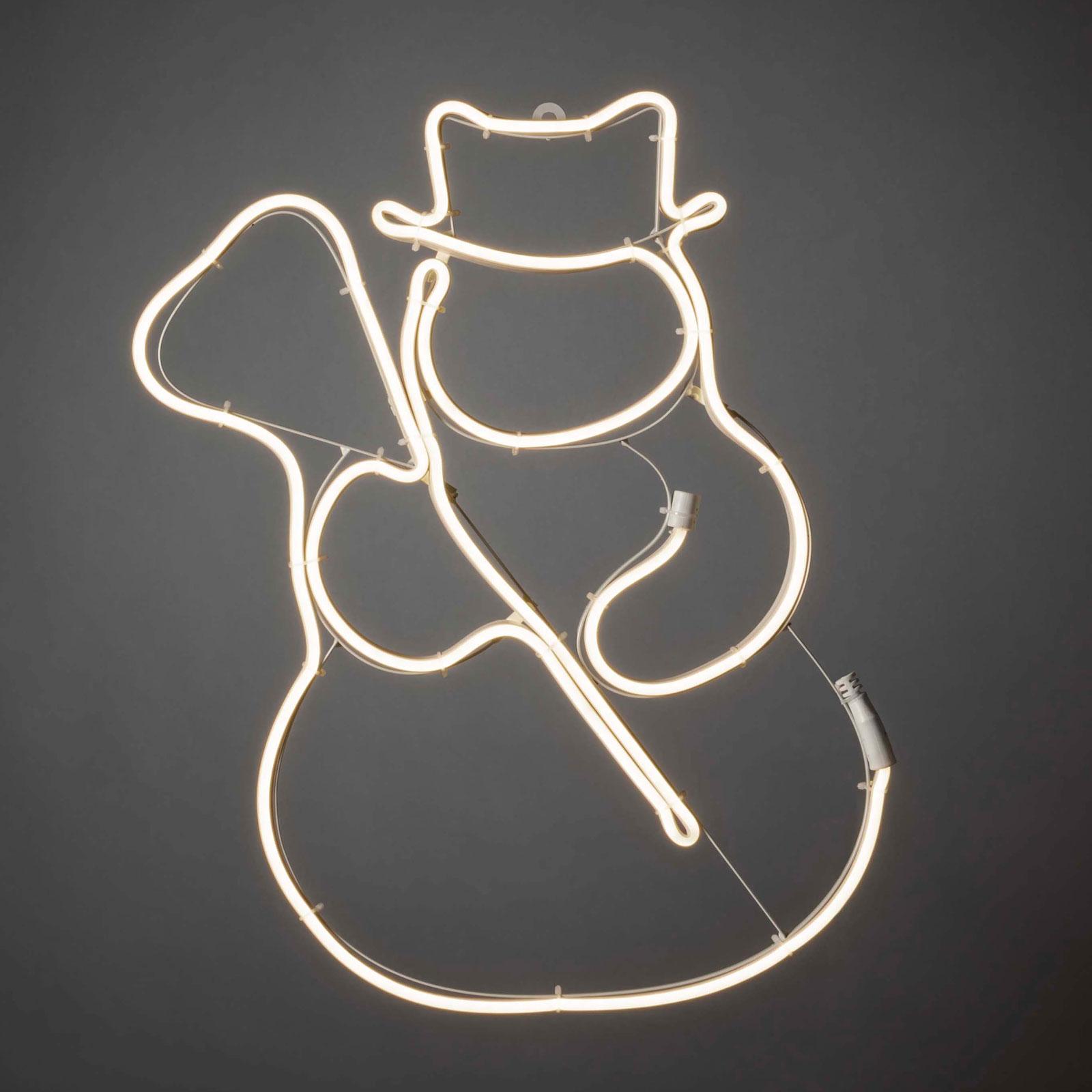 LED-fönsterbild slangsilhuett snögubbe