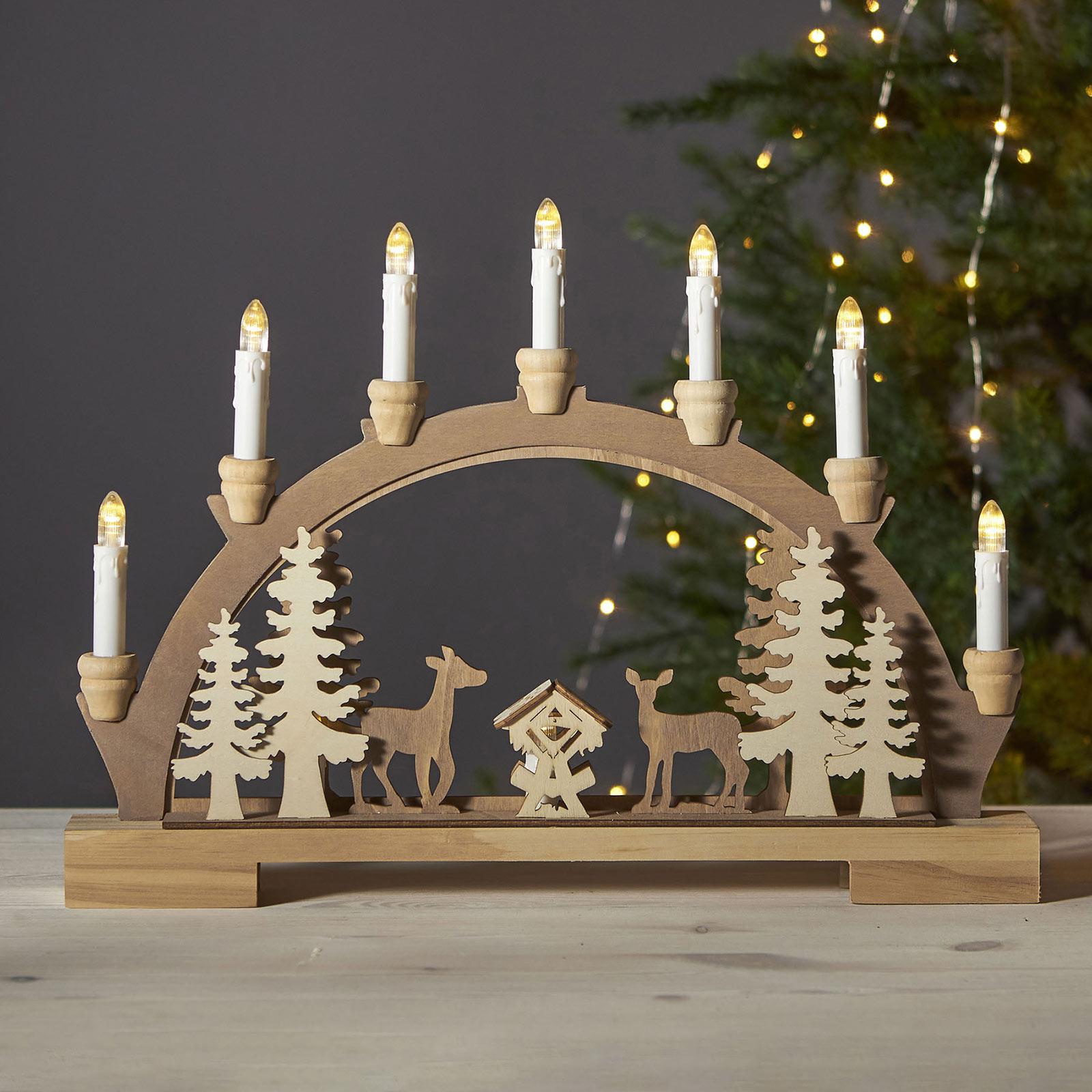 Arc lumineux LED Fauna, bois clair et foncé