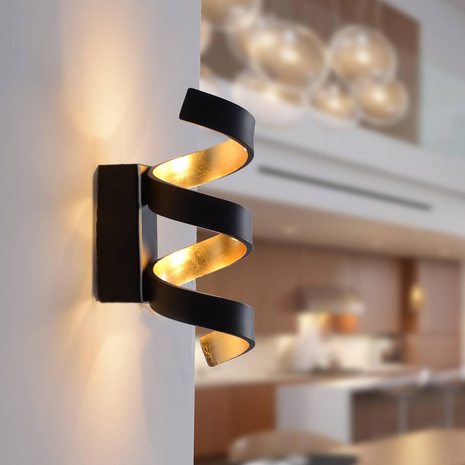 LED wandlamp Helix, zwart-goud, 26 cm