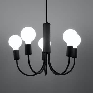 Závěsné světlo Frigg z oceli v černé, pět zdrojů