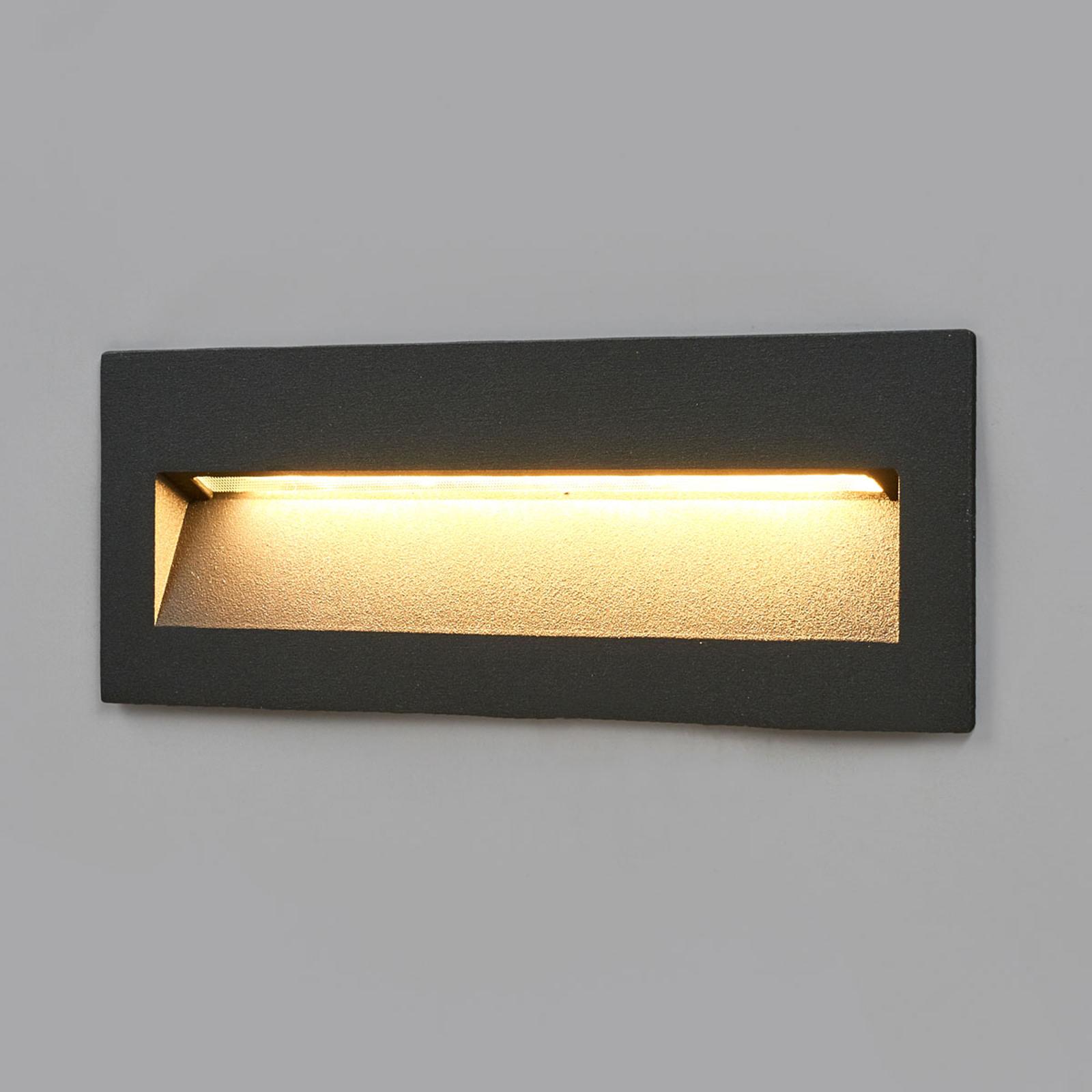 Dunkle LED-Einbauleuchte Loya, Wandmontage außen