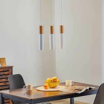 Tube hængelampe, træ, hvid, 3 lyskilder