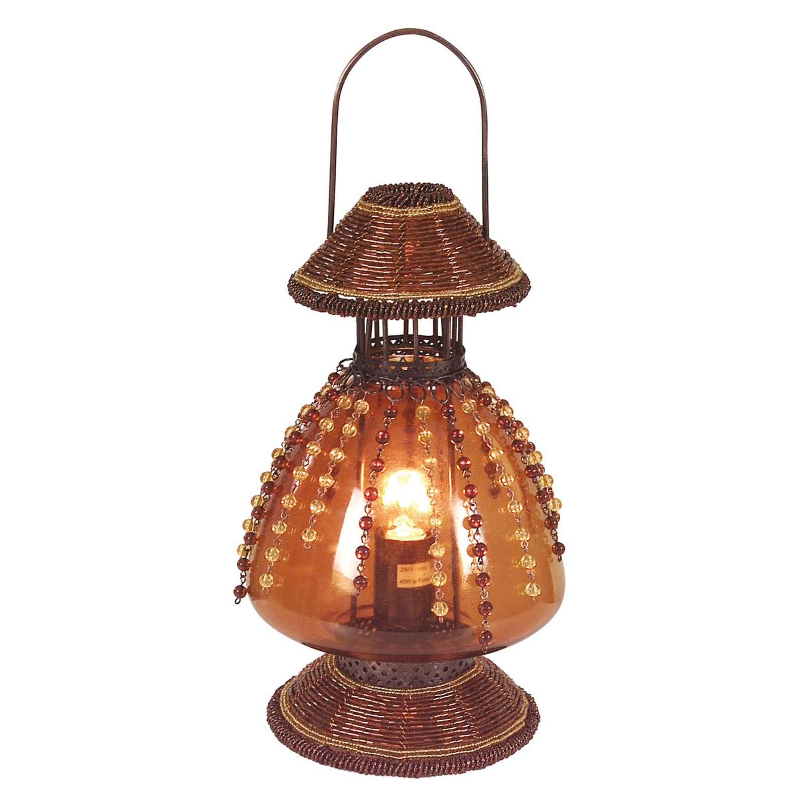 Tischleuchte Perla als Petroleumlampe rostbraun