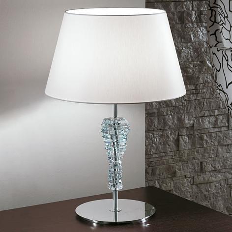 Velká textilní stolní lampa Crystal bílá