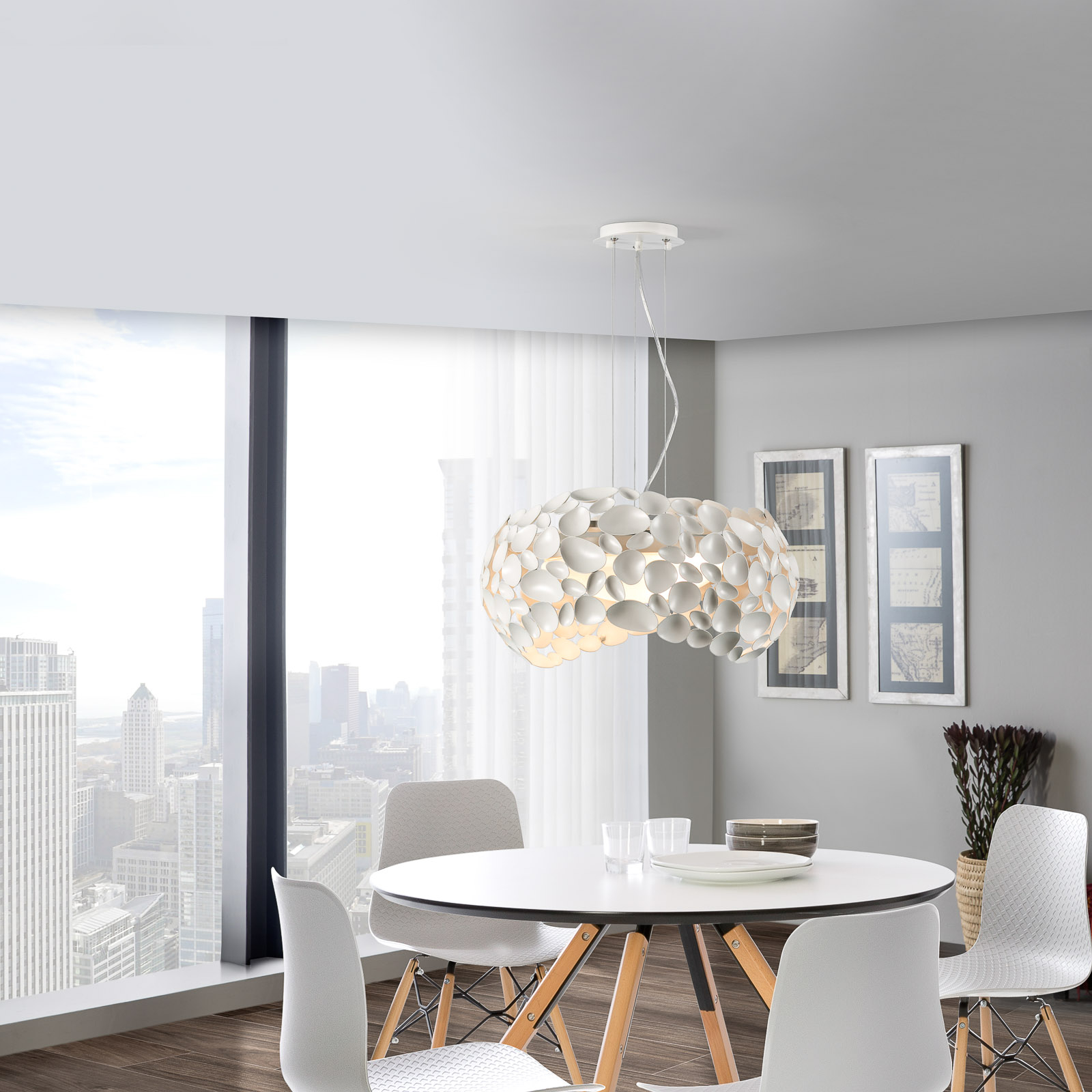 LED-Hängeleuchte Narisa 5xG9, Ø47cm, weiß