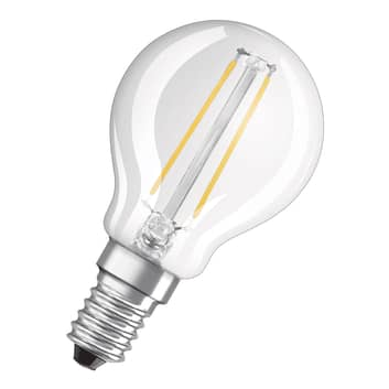 OSRAM LED-dråbepære E14 2,8W varmhvid klar dæmpbar