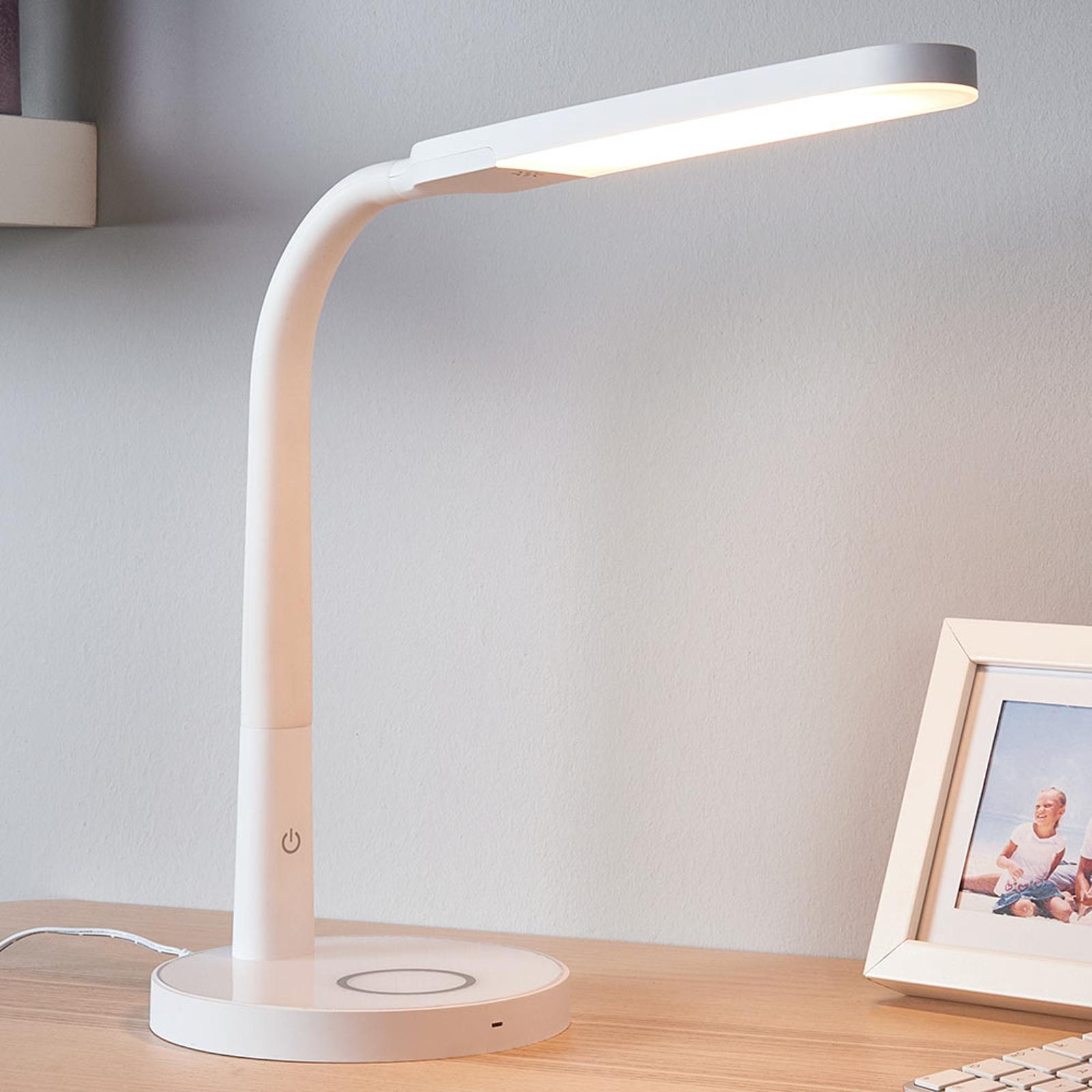 Bílá LED stolní lampa Maily, USB port