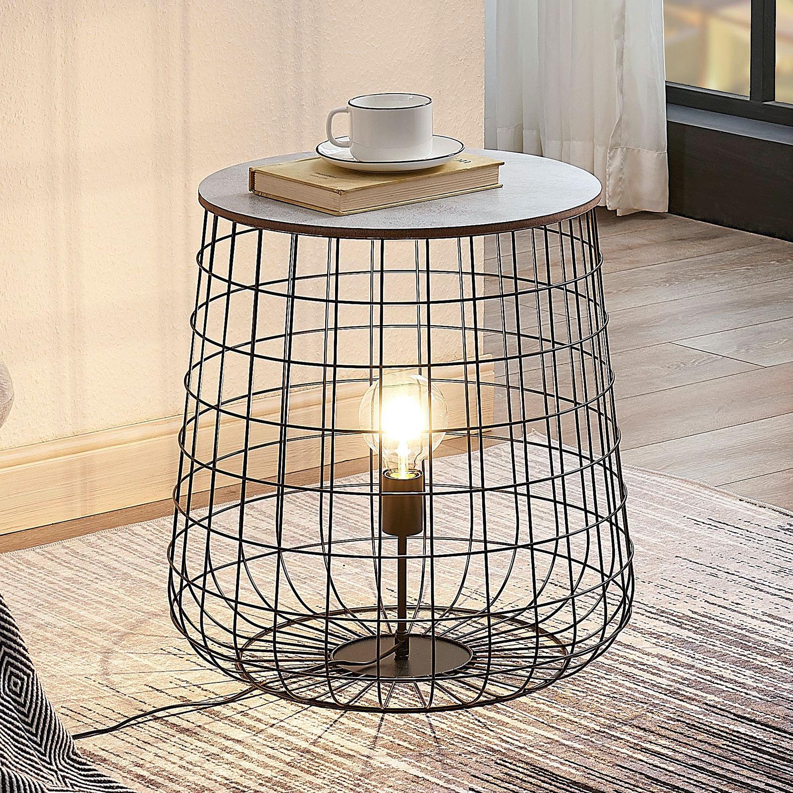 Lindby Winnie korf-vloerlamp met houtplaat