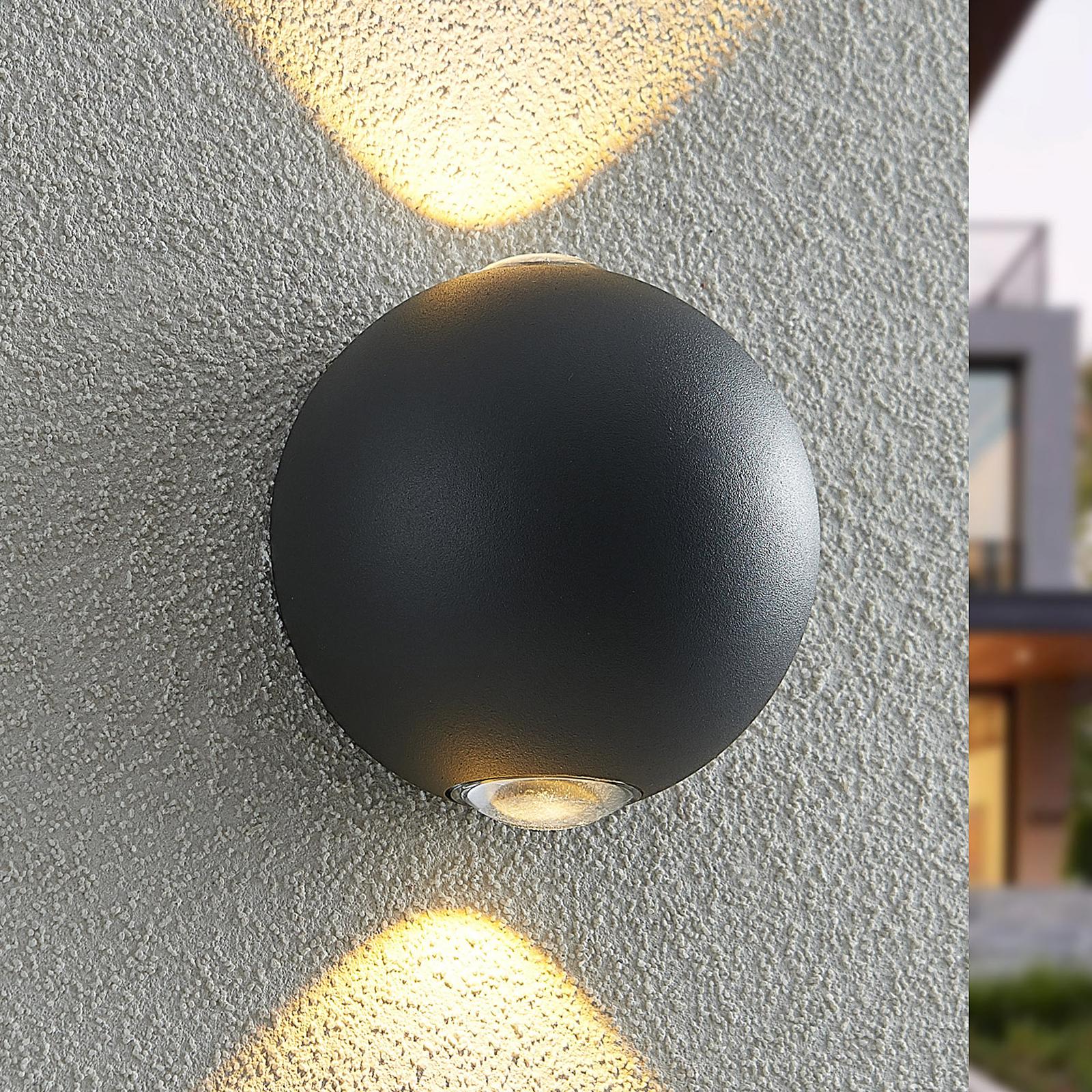 Lindby Esmani LED-vegglampe rund 2 lys, mørkegrå