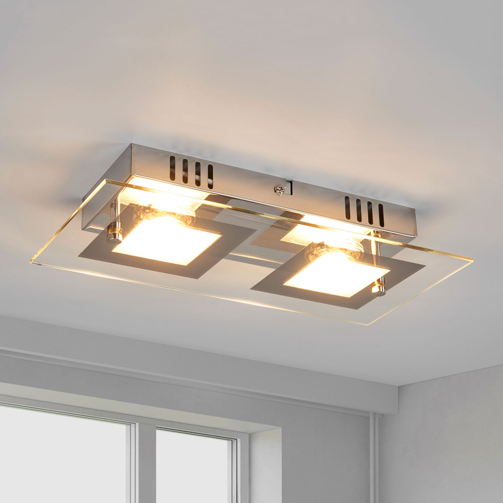 Manja - zweiflammige LED-Deckenlampe in Chrom