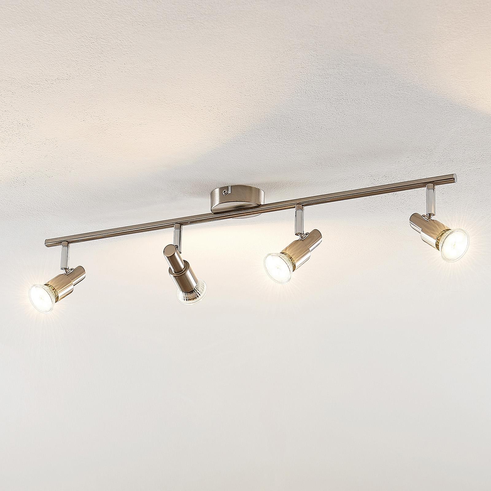 ELC Farida LED-taklampe, nikkel, 4 lyskilder