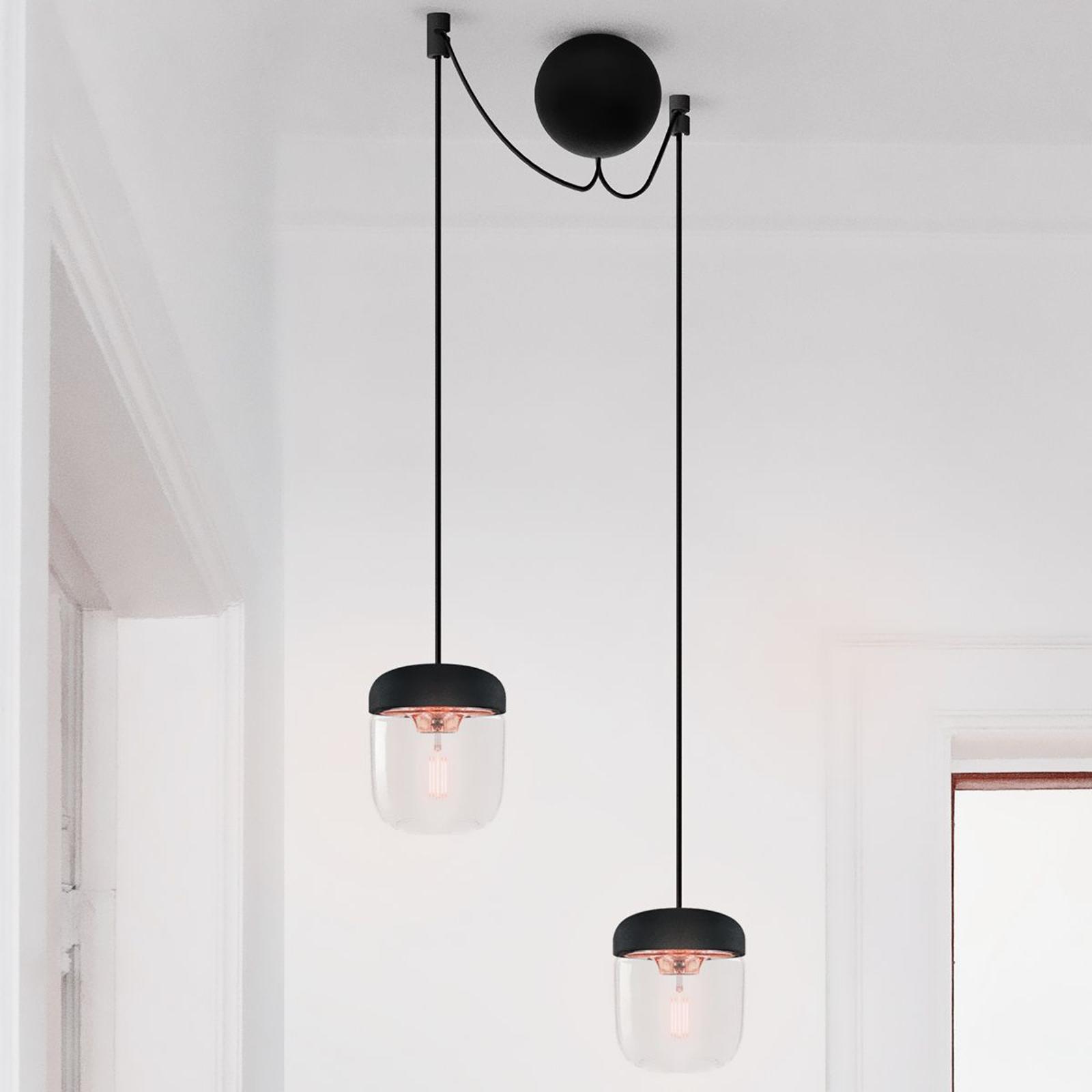 Suspension Acorn à 2 lampes en noir et cuivre