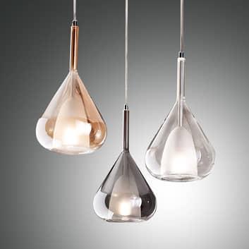 Závěsné světlo Lila ze skla, tři žárovky, kulaté
