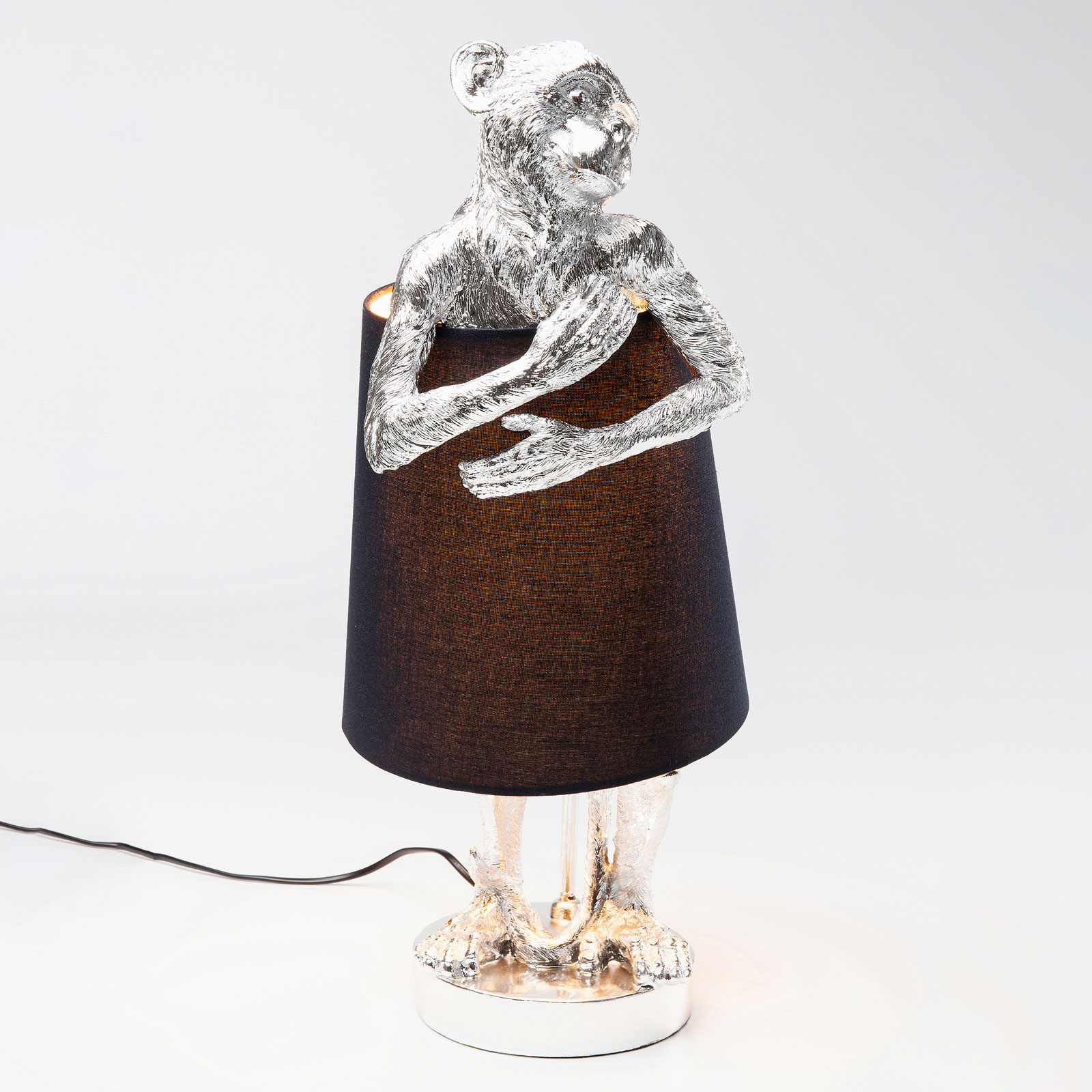 KARE Animal Monkey tafellamp zilver/zwart