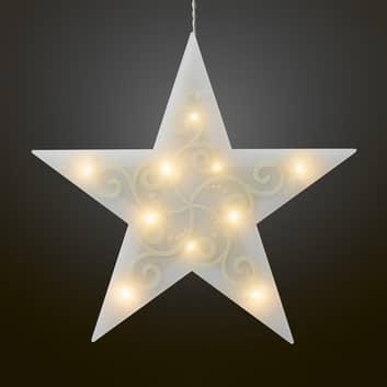 LED dekorační hvězda 5cípá, bílá světelný řetěz