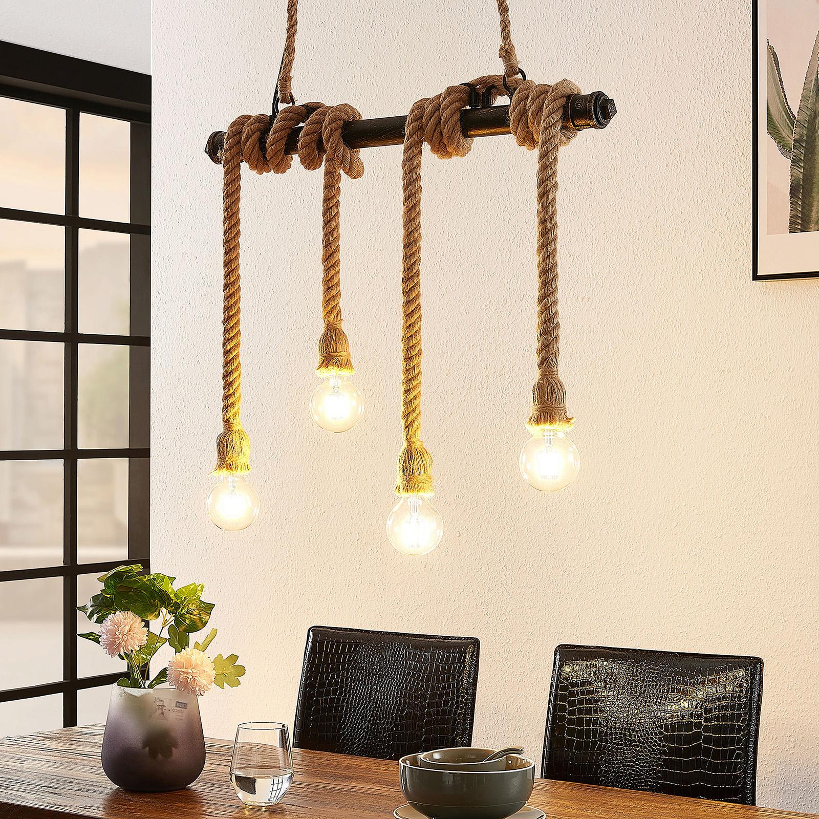Lindby Hajo závěsné světlo, čtyřžárovkové, lano