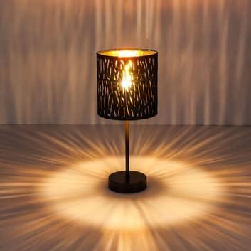 Lampe à poser Tuxon avec abat-jour noir-doré