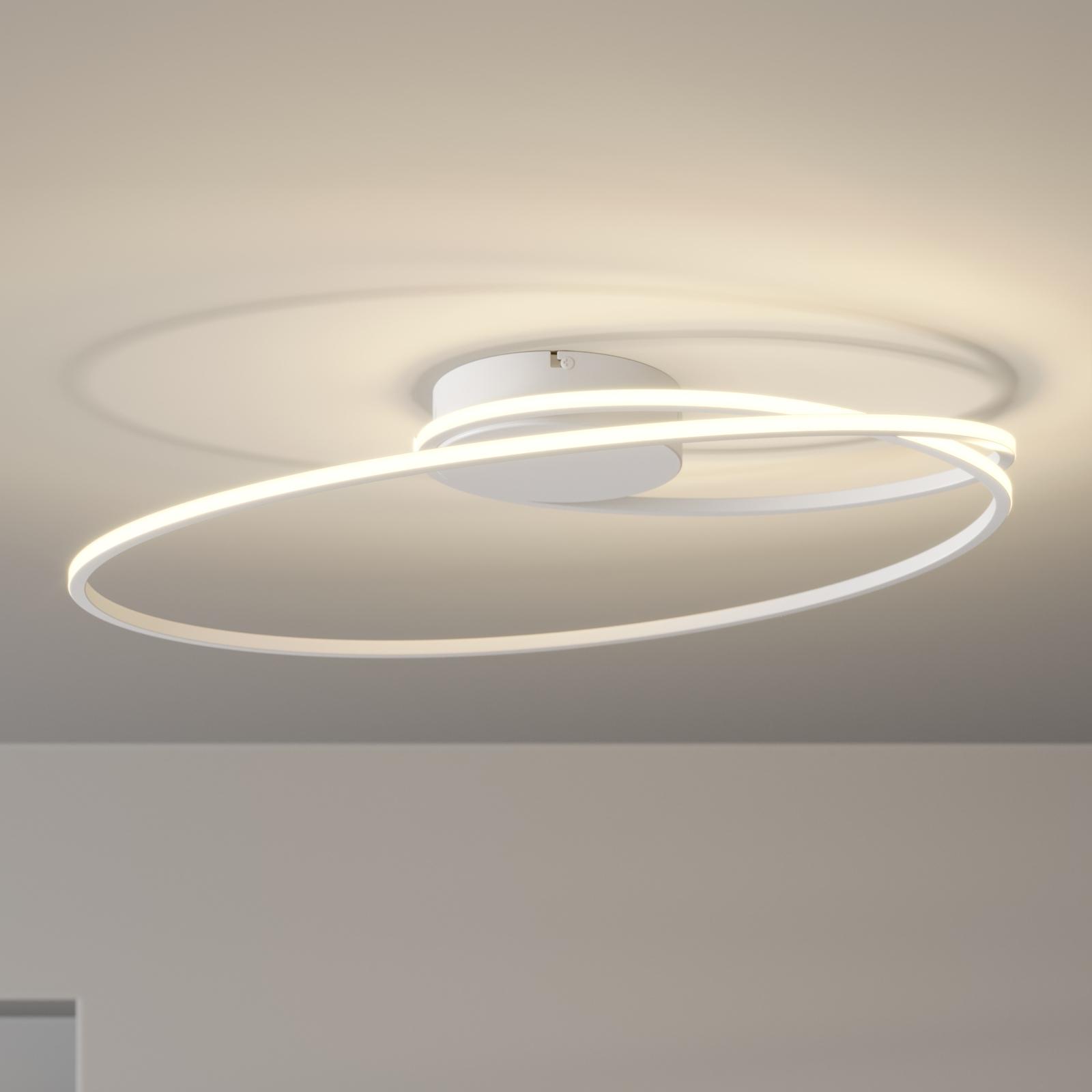 Lindby Xenias lampa sufitowa LED, biała 60 x 35 cm