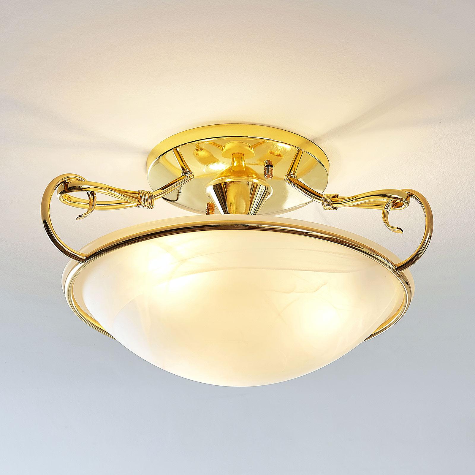 Szklana lampa sufitowa Lonika, mosiężna błyszcząca