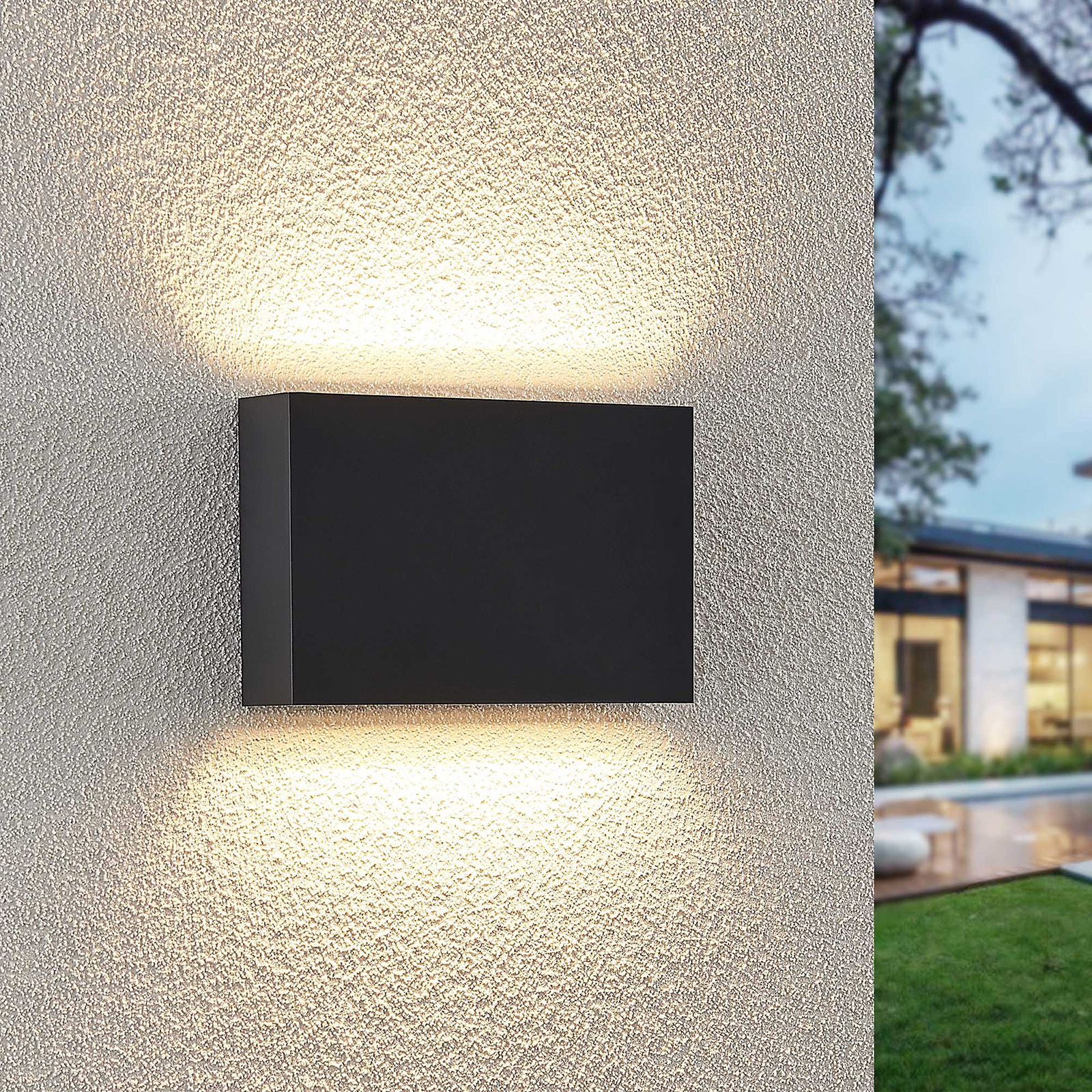 Lindby Jarte utendørs LED-vegglampe, 20 cm up/down