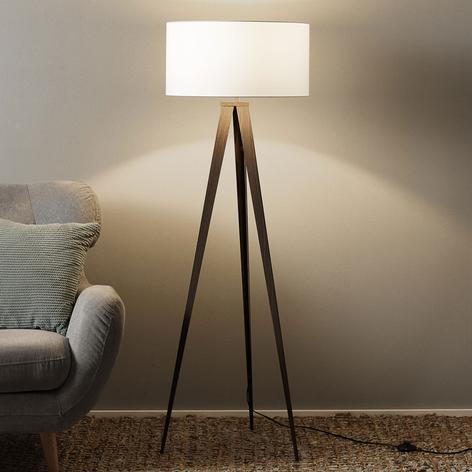 Lampa stojąca na 3 nogach Benik klosz biały orzech