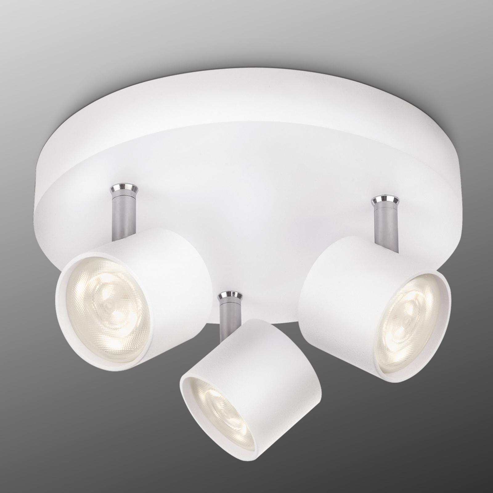 3-punktowa lampa sufitowa LED STAR, biała okrągła