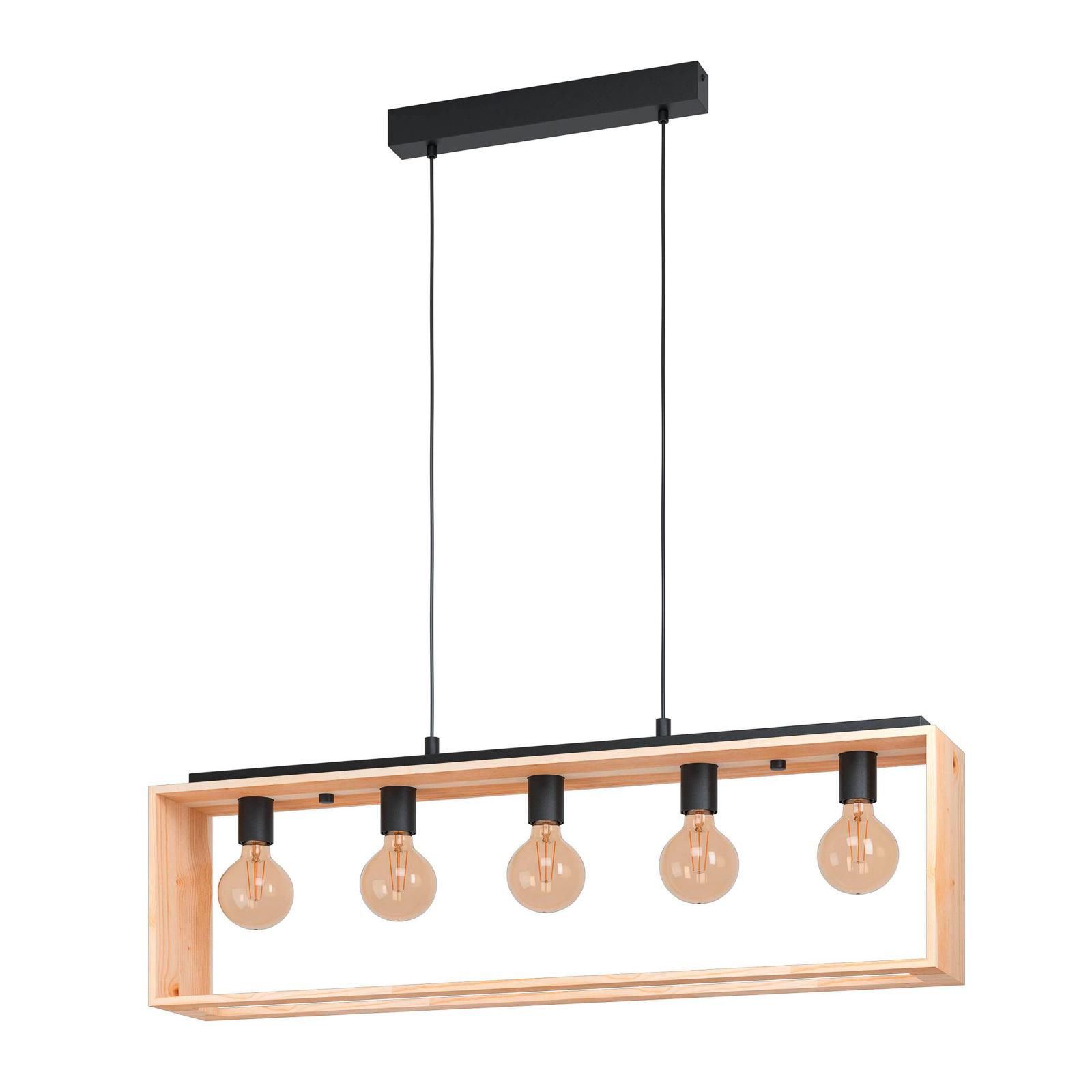 Suspension Famborough avec cadre en bois, 5 lampes