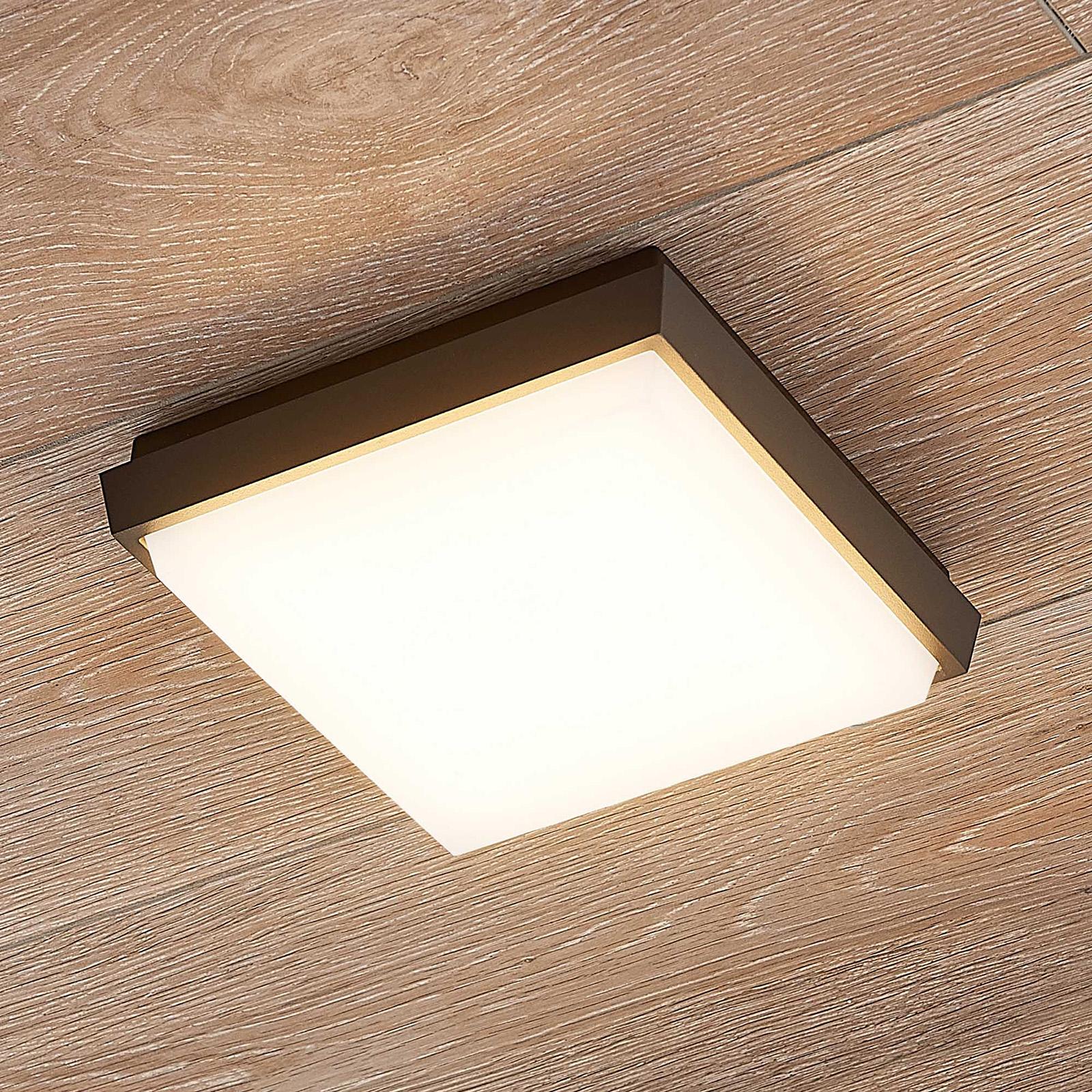 Lucande Amra LED-Außendeckenleuchte, eckig 17,5 cm