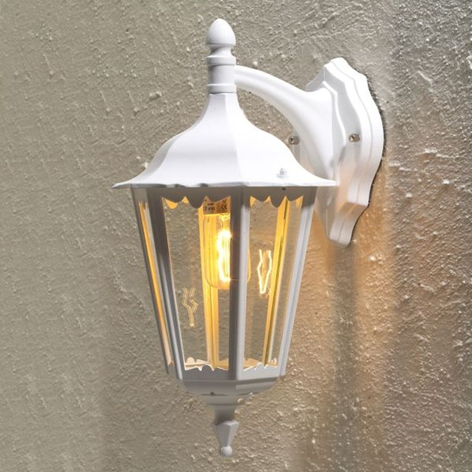 Buitenwandlamp Firenze, hangend, 48cm, wit