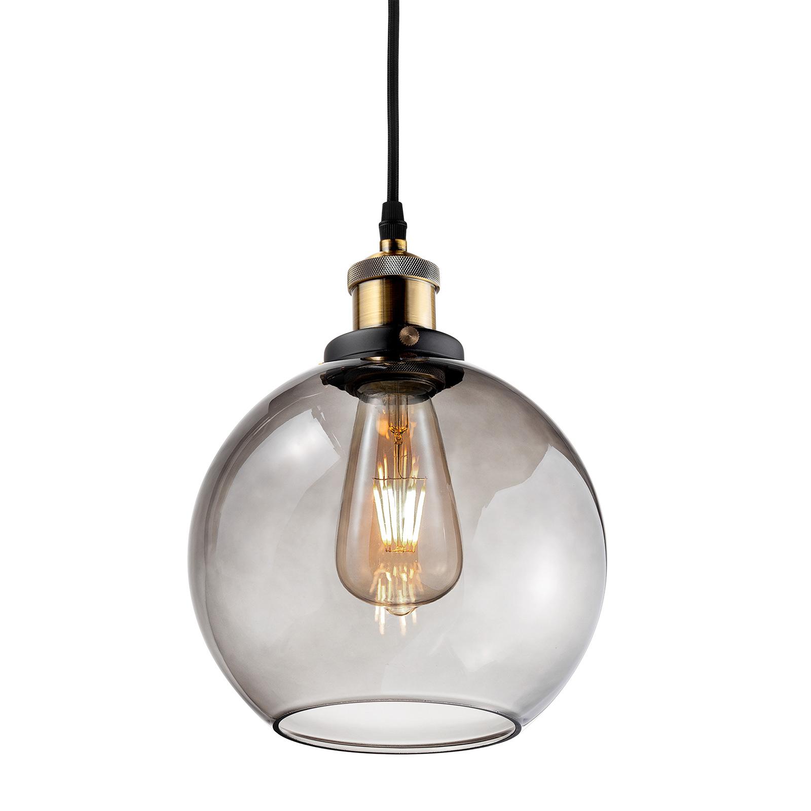 Hanglamp LA035 E27 rond messing/rookgrijs
