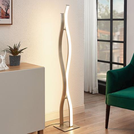 Lucande Mairia LED-gulvlampe, bølgeform, aluminium