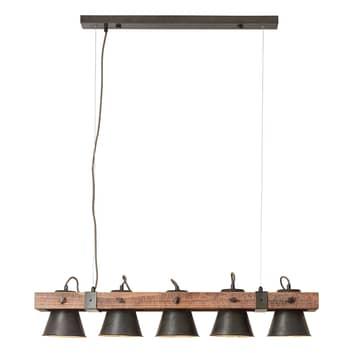 Plow hængelampe, 5 lyskilder, sort/mørkt træ
