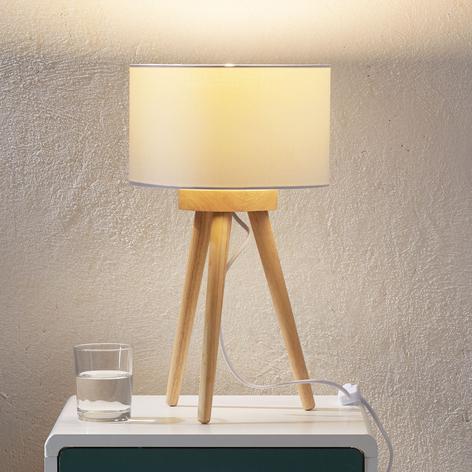 Holz-Tischleuchte Charlia mit weißem Stoffschirm