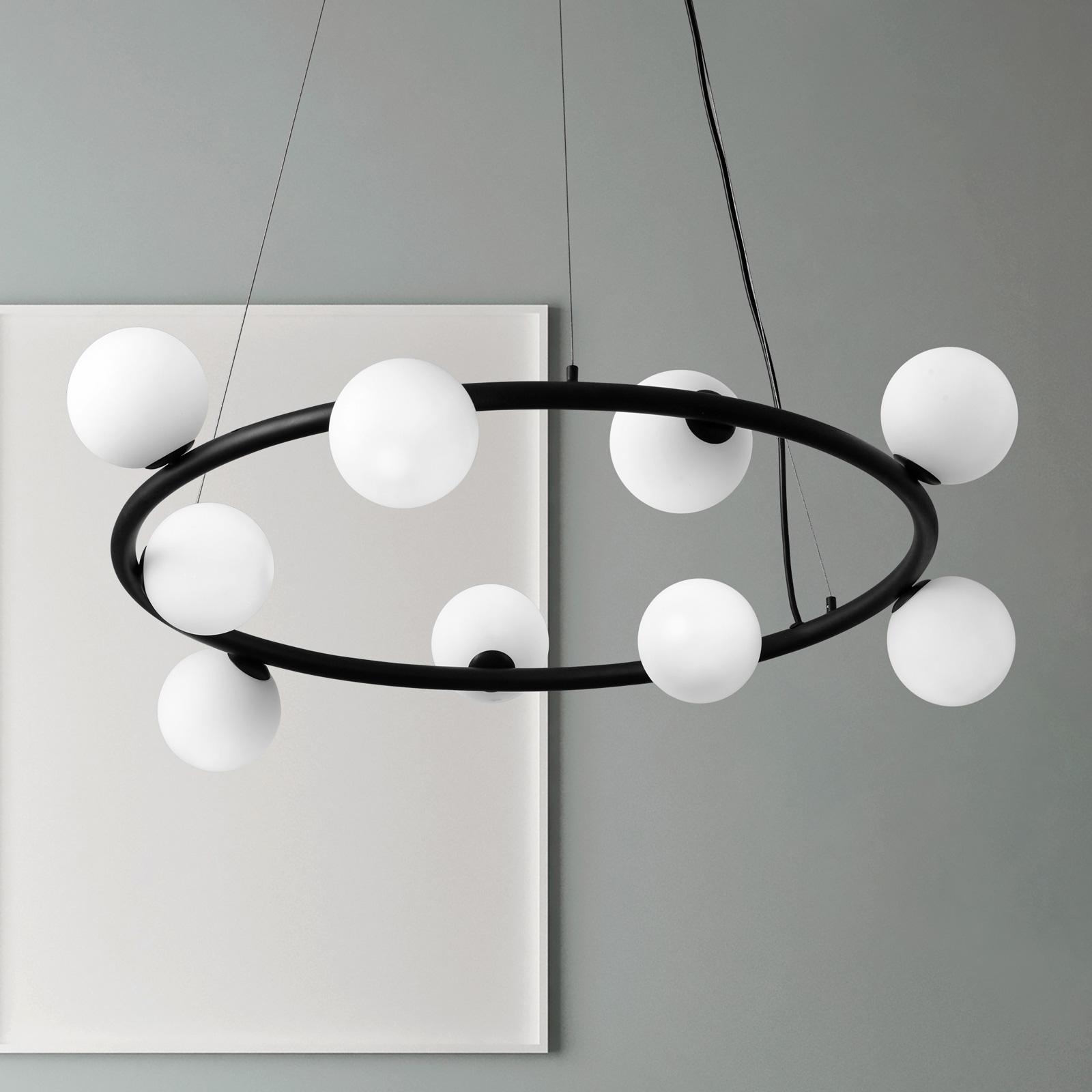 Lampa wisząca Pomì 9-punktowa ze szklanymi kulami