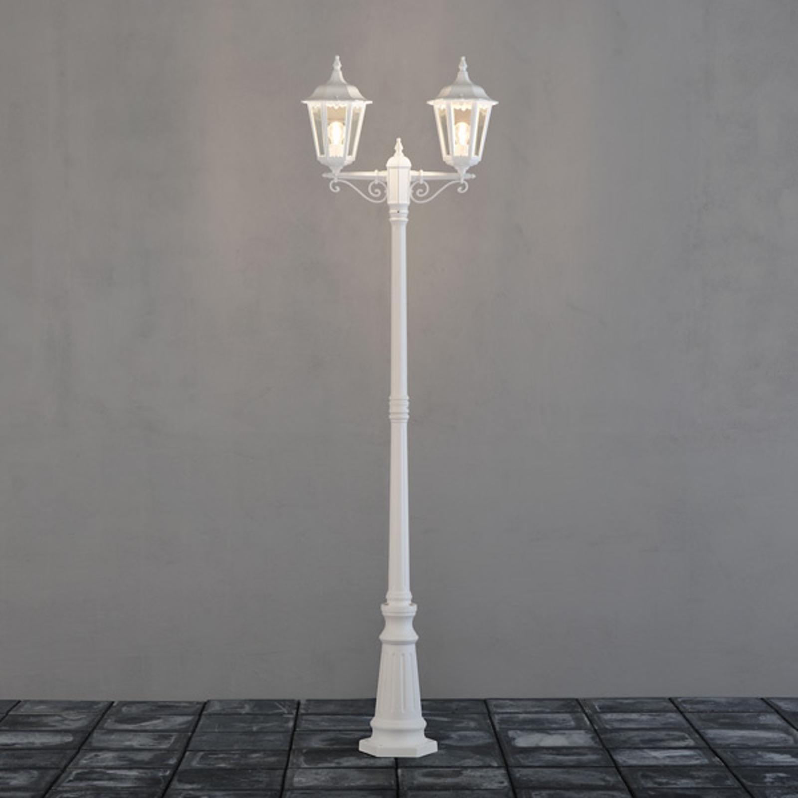 Lyktestolpe Firenze, 2-lyskilder, hvit