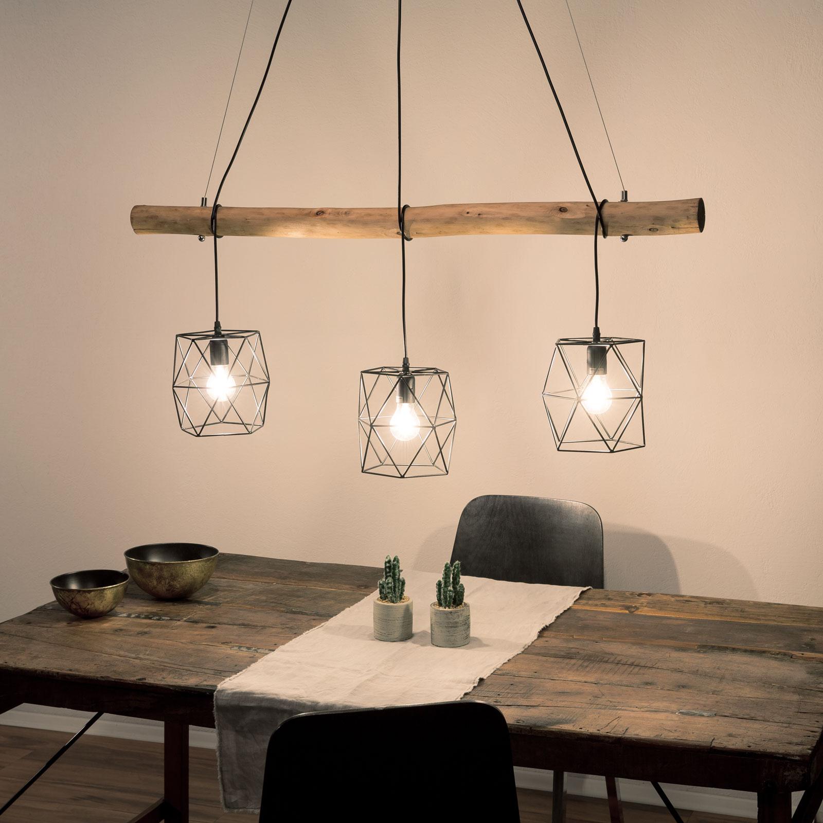 Vintage-pendellampe Edgar med træbjælker, 3 lys
