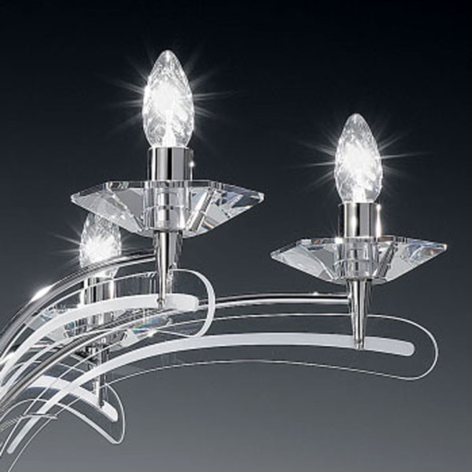 Kronleuchter ICARO 6-fl. mit Kristallglas, chrom