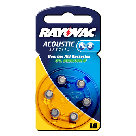 Rayovac 10 Acoustic 1,4 V 105 m/Ah knappbatteri