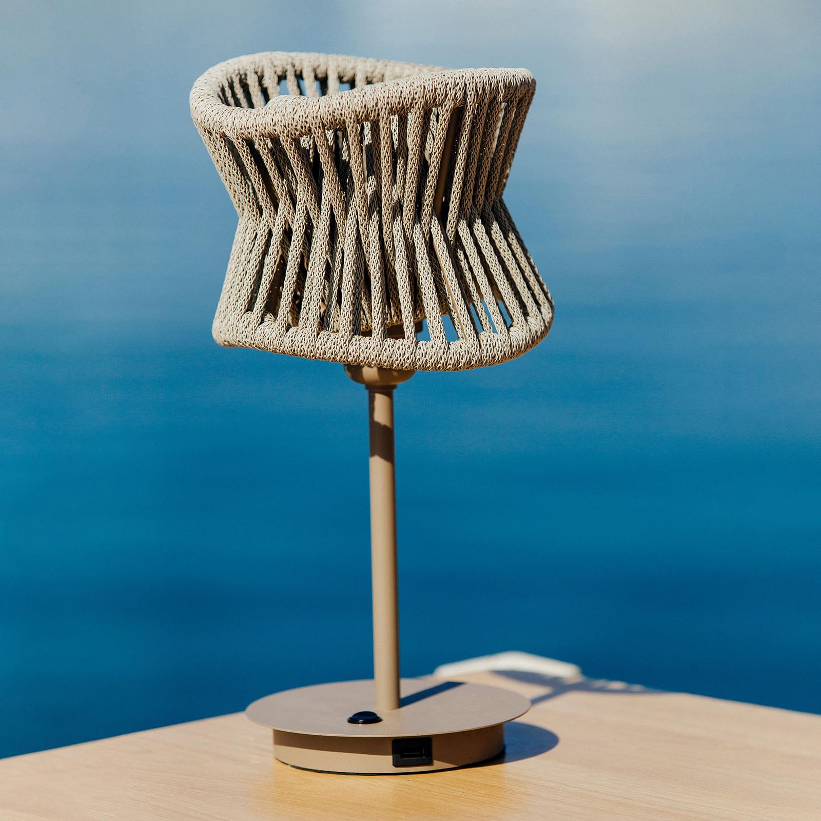 Lampada da tavolo esterni Polinesia, attacco USB