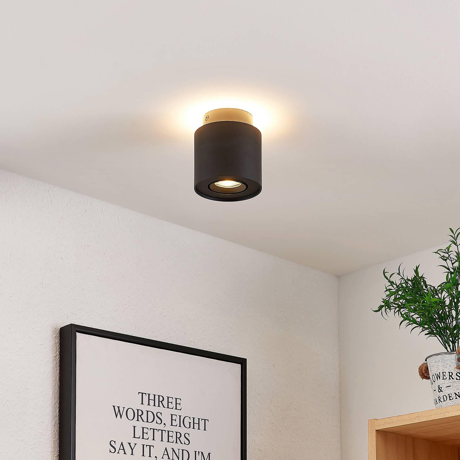 Arcchio Walisa LED plafondlamp, rond, zwart