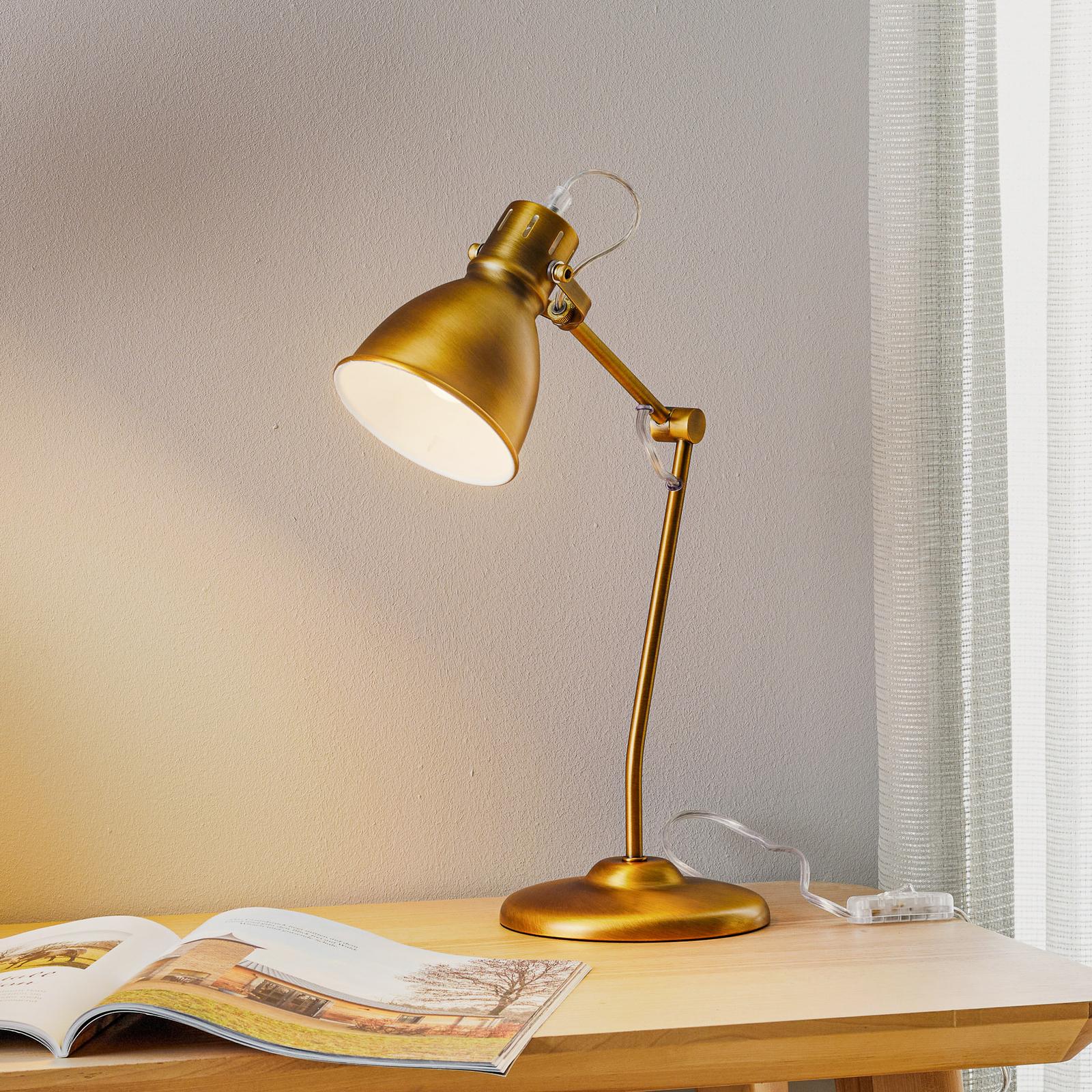 Stolní lampa Keali výšk. nastav. starož. mosaz