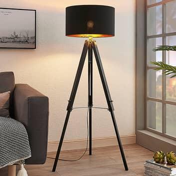 Trebenet gulvlampe Triac med træstel, sort