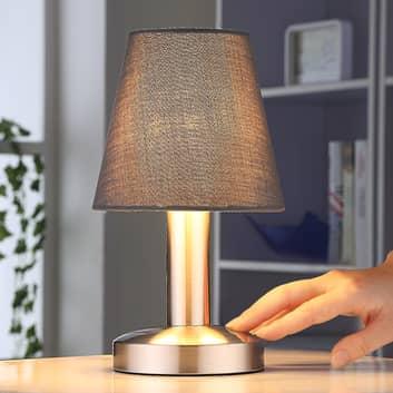 Szara lampa nocna Hanno z materiałowym abażurem