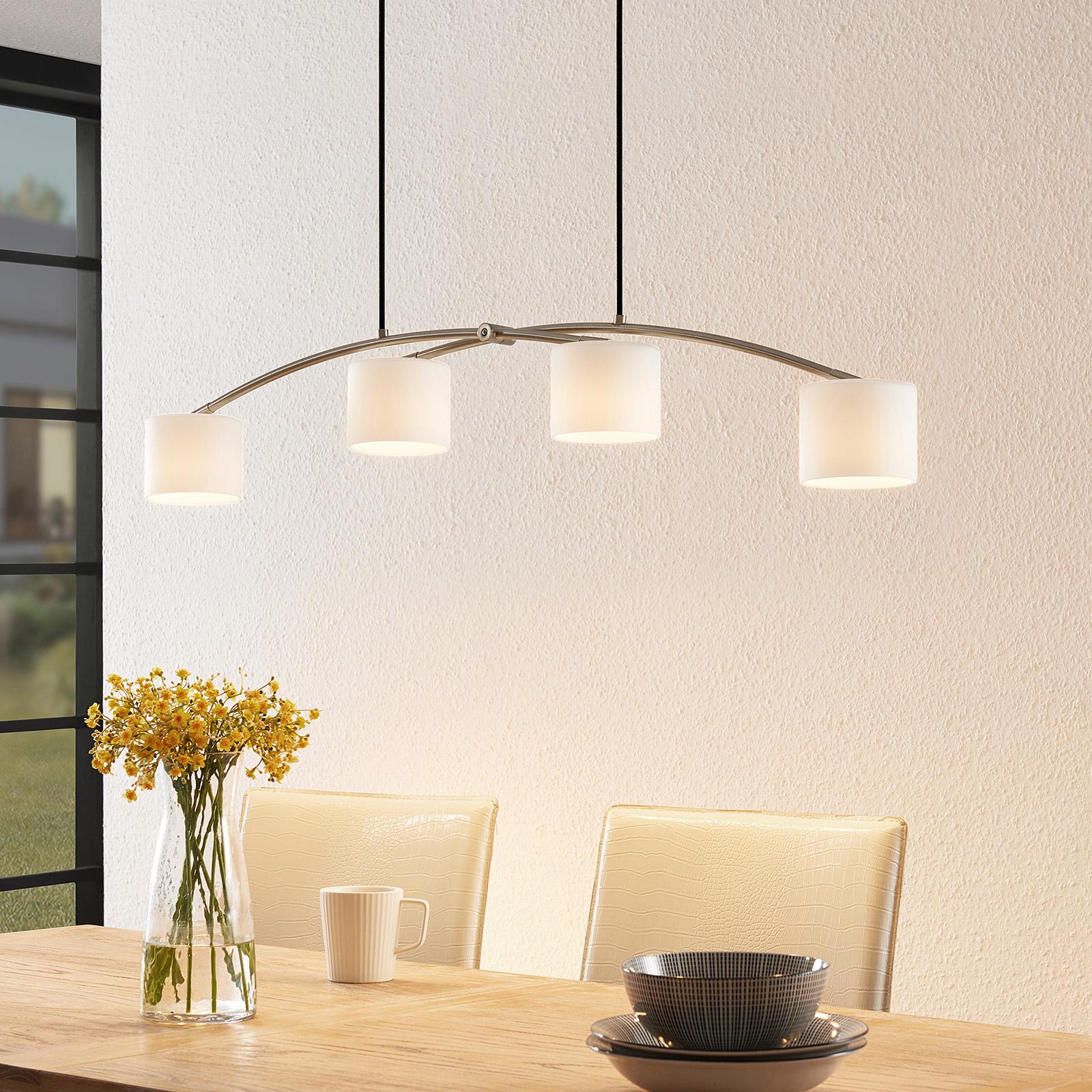 Lucande Juljana lámpara colgante, 4 luces, textil