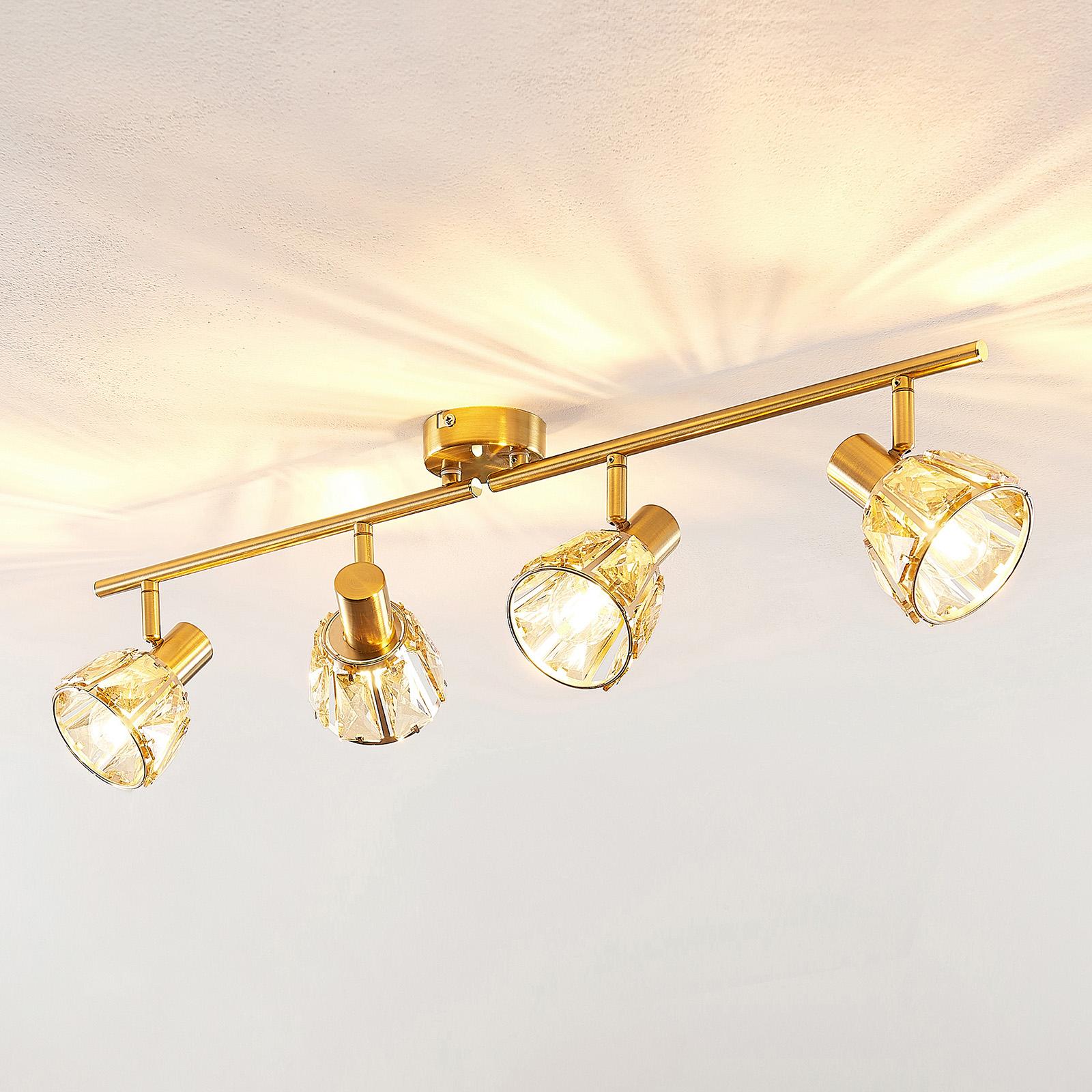 Lindby Kosta plafonnier, à 4 lampes, laiton